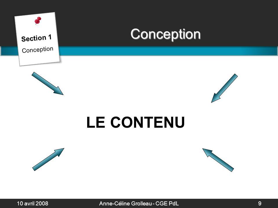 10 avril 2008Anne-Céline Grolleau - CGE PdL10 La diapositive Créer une diapositive sommaire 1 diapo = 1 idée 6 « points » / diapo 6 mots / ligne 1 image = 1 diapo Section 1 Conception