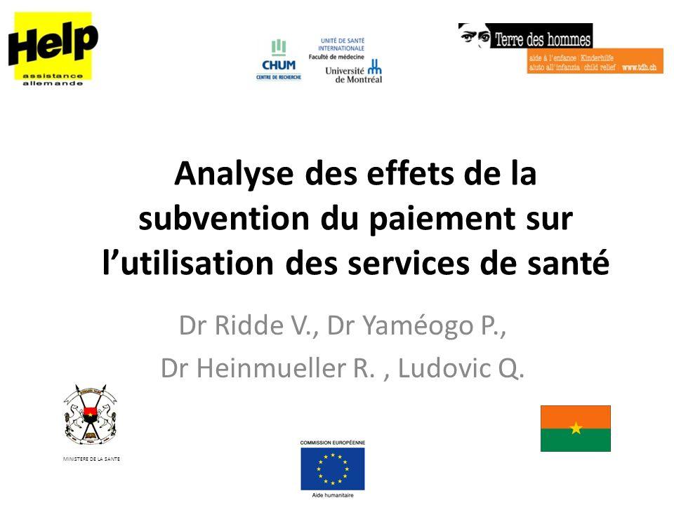 Analyse des effets de la subvention du paiement sur lutilisation des services de santé Dr Ridde V., Dr Yaméogo P., Dr Heinmueller R., Ludovic Q. MINIS