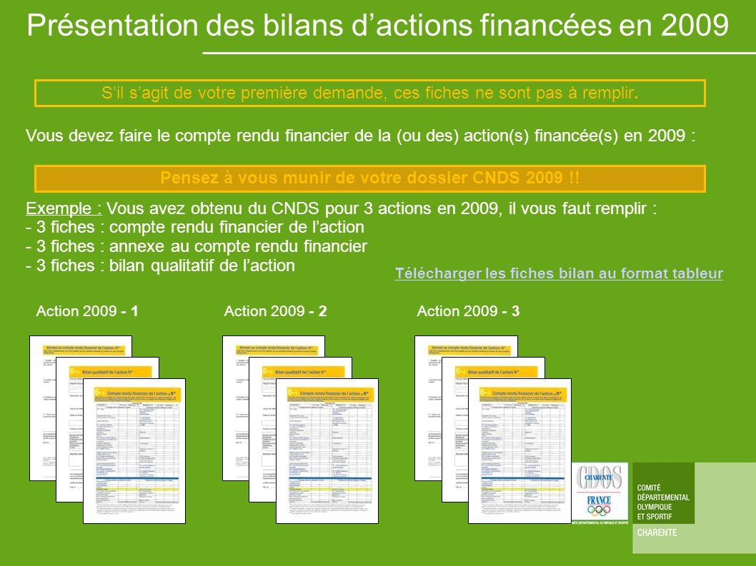 Présentation des bilans dactions financées en 2009 Vous devez faire le compte rendu financier de la (ou des) action(s) financée(s) en 2009 : Exemple :