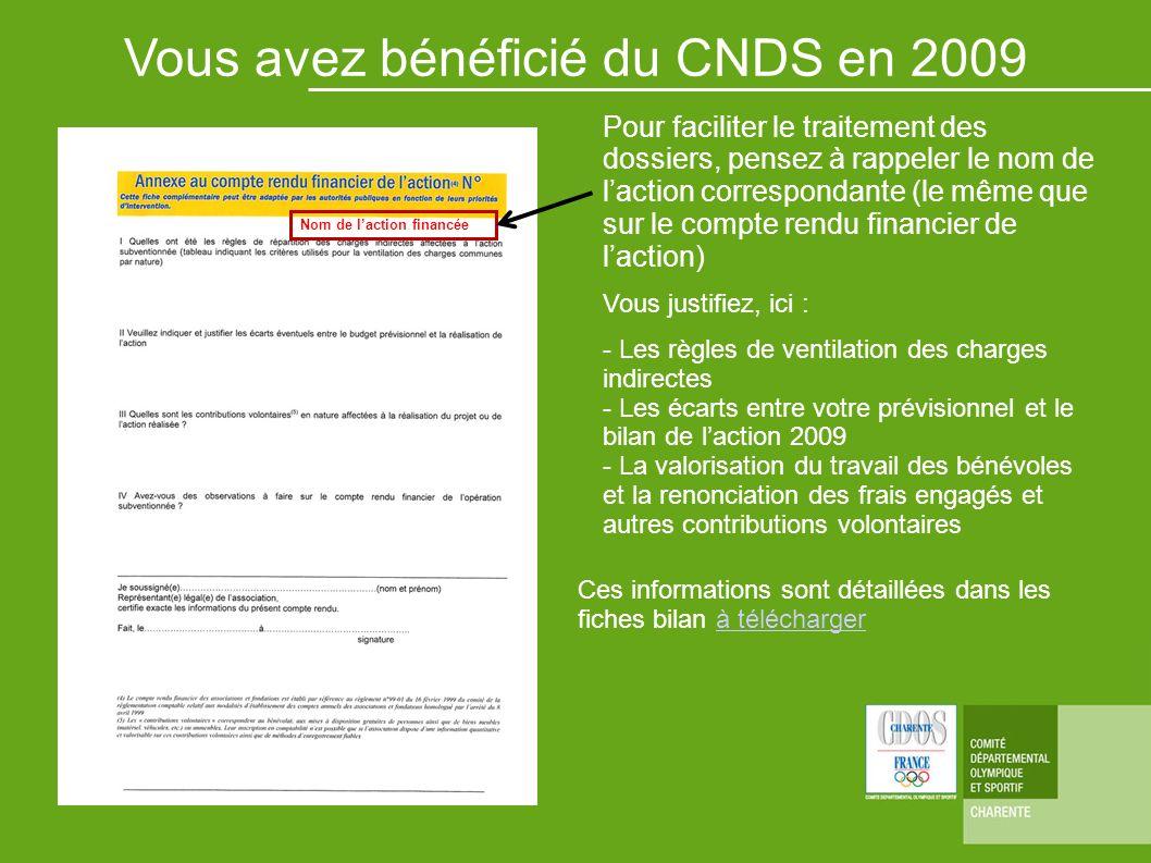 Vous avez bénéficié du CNDS en 2009 Pour faciliter le traitement des dossiers, pensez à rappeler le nom de laction correspondante (le même que sur le