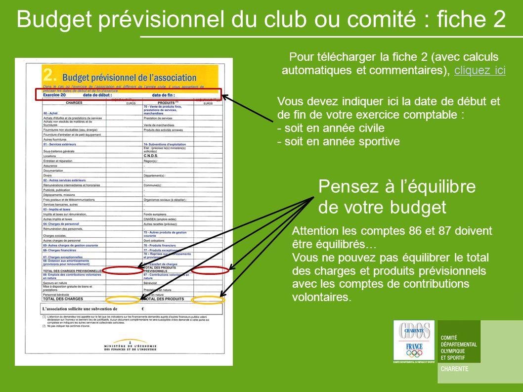 Pensez à léquilibre de votre budget Budget prévisionnel du club ou comité : fiche 2 Vous devez indiquer ici la date de début et de fin de votre exerci