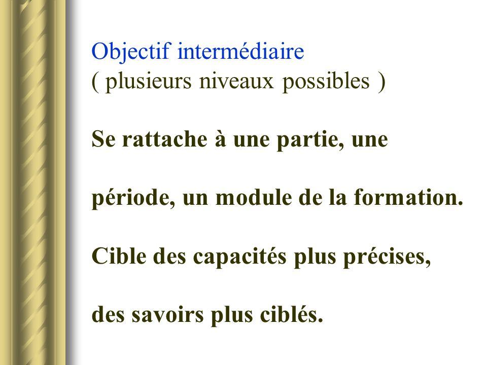 Objectif intermédiaire ( plusieurs niveaux possibles ) Se rattache à une partie, une période, un module de la formation. Cible des capacités plus préc