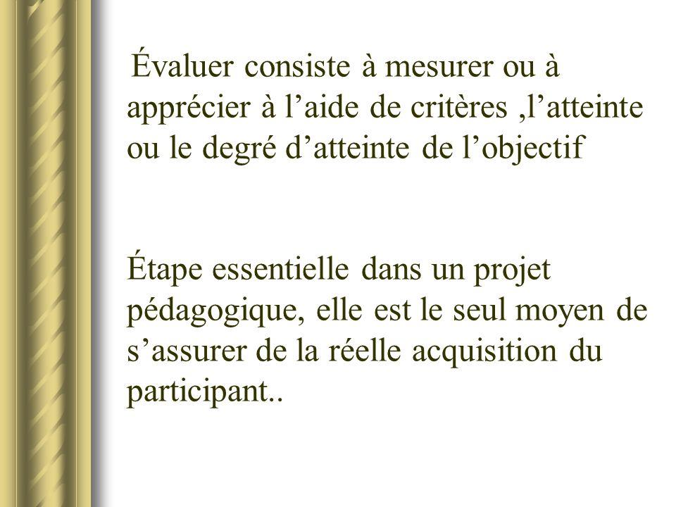 Évaluer consiste à mesurer ou à apprécier à laide de critères,latteinte ou le degré datteinte de lobjectif Étape essentielle dans un projet pédagogiqu