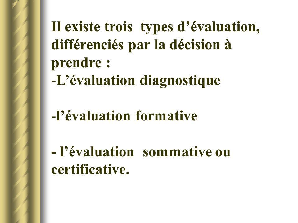 Il existe trois types dévaluation, différenciés par la décision à prendre : -Lévaluation diagnostique -lévaluation formative - lévaluation sommative o