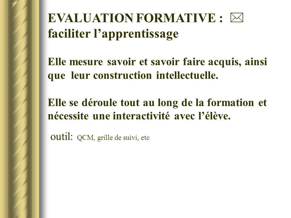 EVALUATION FORMATIVE : faciliter lapprentissage Elle mesure savoir et savoir faire acquis, ainsi que leur construction intellectuelle. Elle se déroule