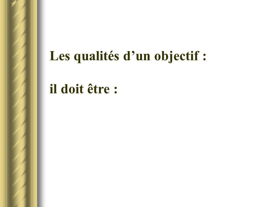 Les qualités dun objectif : il doit être :