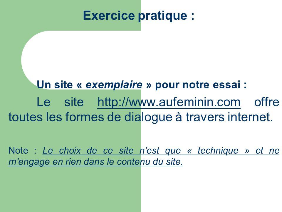 Exercice pratique : Un site « exemplaire » pour notre essai : Le site http://www.aufeminin.com offre toutes les formes de dialogue à travers internet.