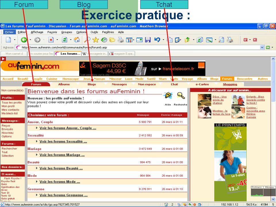 Exercice pratique : ForumBlogTchat