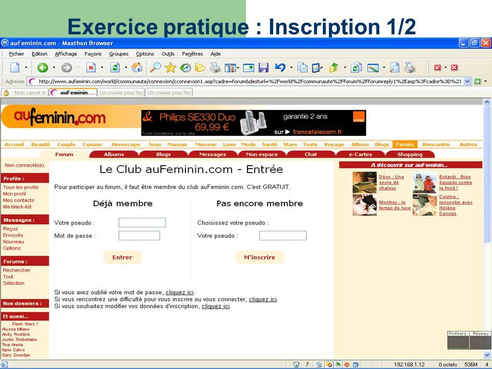 Exercice pratique : Inscription 1/2