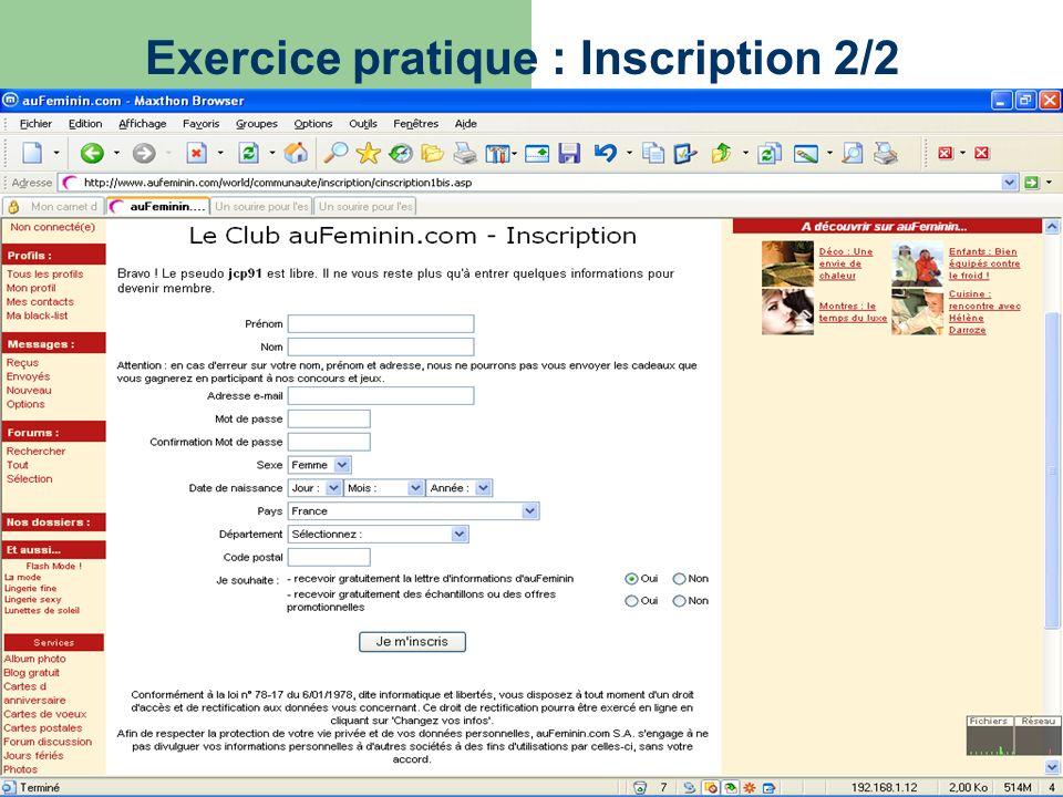 Exercice pratique : Inscription 2/2