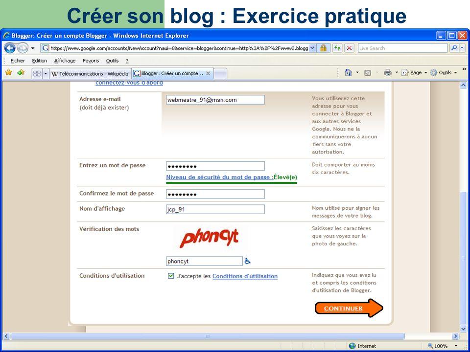 Créer son blog : Exercice pratique