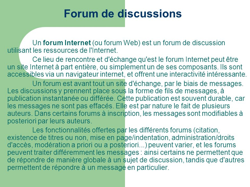 Forum de discussions (exemple)