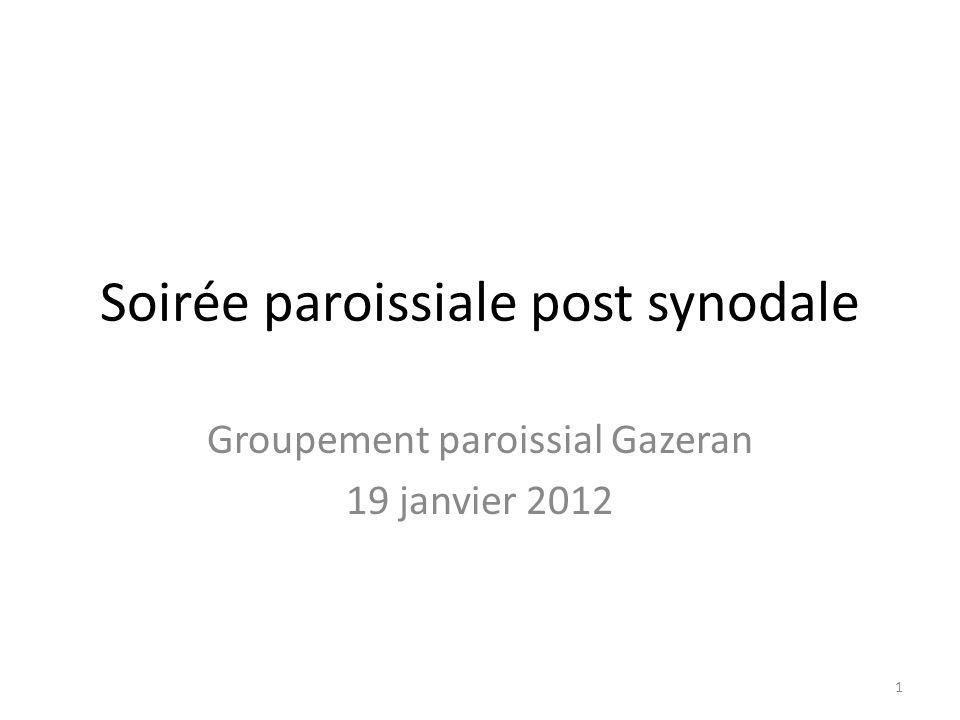 Soirée paroissiale post synodale Groupement paroissial Gazeran 19 janvier 2012 1