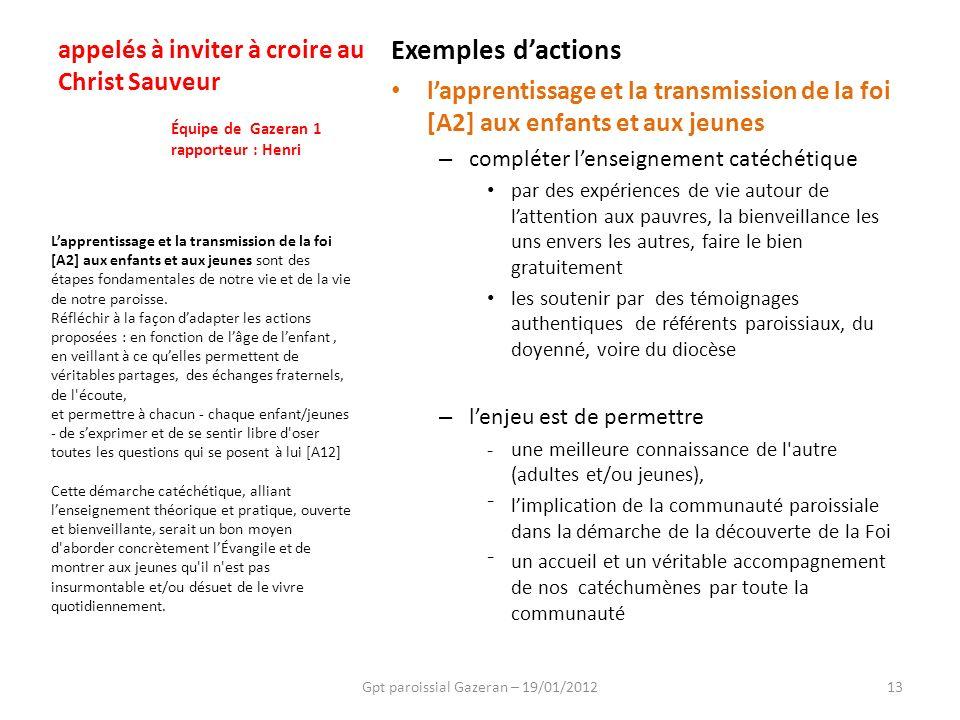 Gpt paroissial Gazeran – 19/01/201213 Lapprentissage et la transmission de la foi [A2] aux enfants et aux jeunes sont des étapes fondamentales de notr