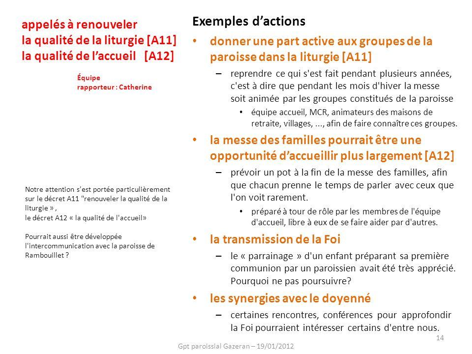 Gpt paroissial Gazeran – 19/01/2012 14 Notre attention s'est portée particulièrement sur le décret A11
