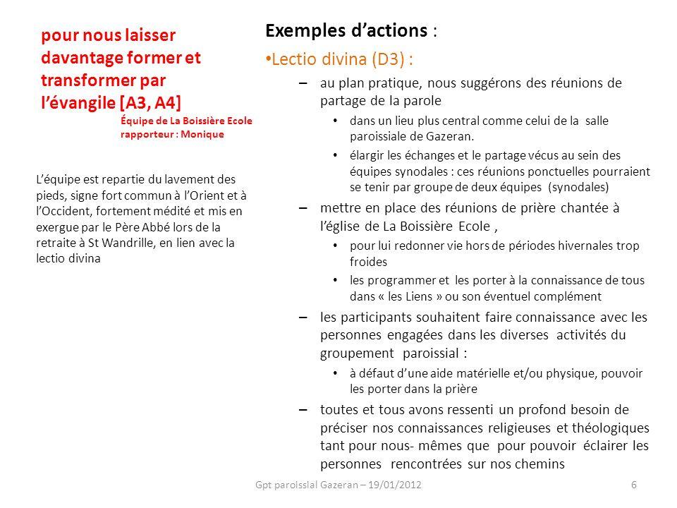 Exemples dactions : Lectio divina (D3) : – au plan pratique, nous suggérons des réunions de partage de la parole dans un lieu plus central comme celui