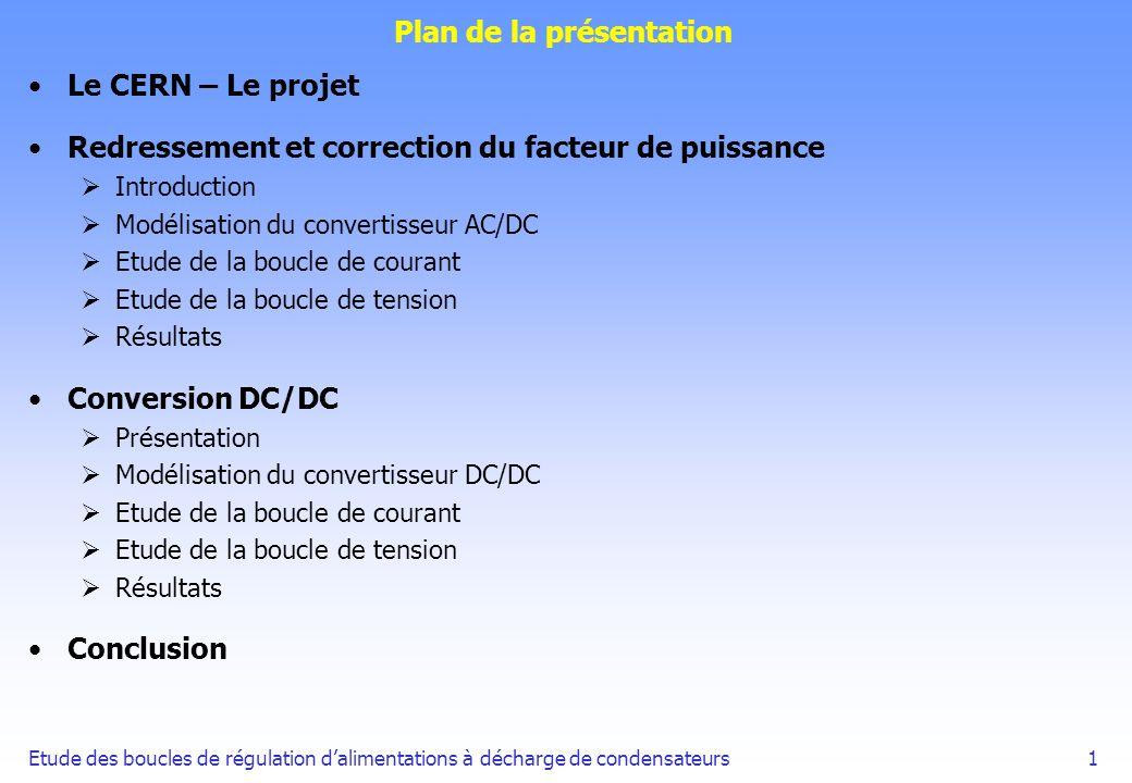 Etude des boucles de régulation dalimentations à décharge de condensateurs1 Plan de la présentation Le CERN – Le projet Redressement et correction du