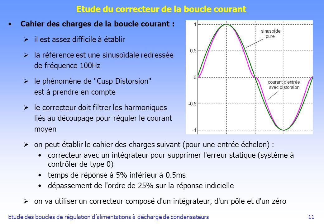 Etude des boucles de régulation dalimentations à décharge de condensateurs11 Etude du correcteur de la boucle courant Cahier des charges de la boucle