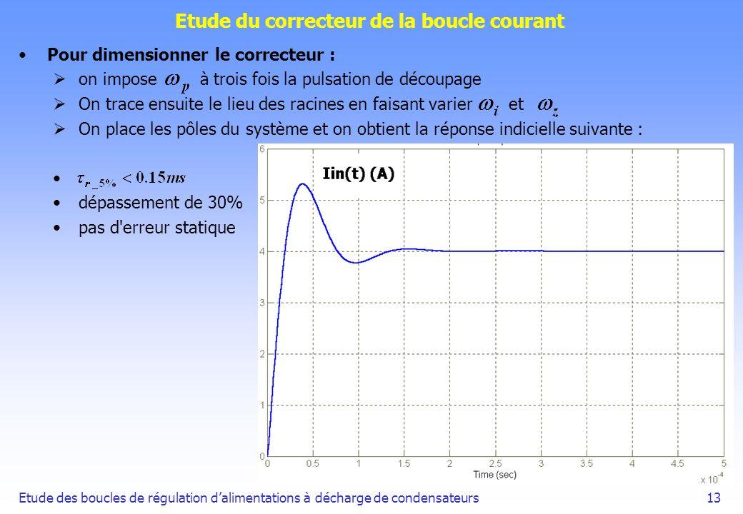 Etude des boucles de régulation dalimentations à décharge de condensateurs13 Etude du correcteur de la boucle courant Pour dimensionner le correcteur