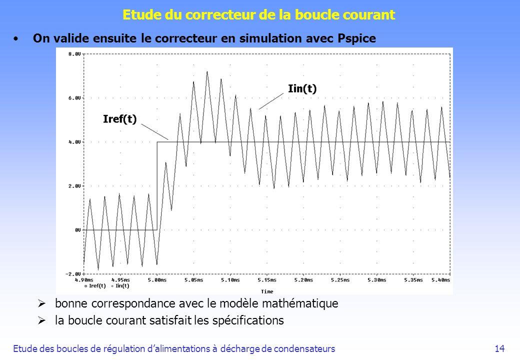 Etude des boucles de régulation dalimentations à décharge de condensateurs14 Etude du correcteur de la boucle courant On valide ensuite le correcteur