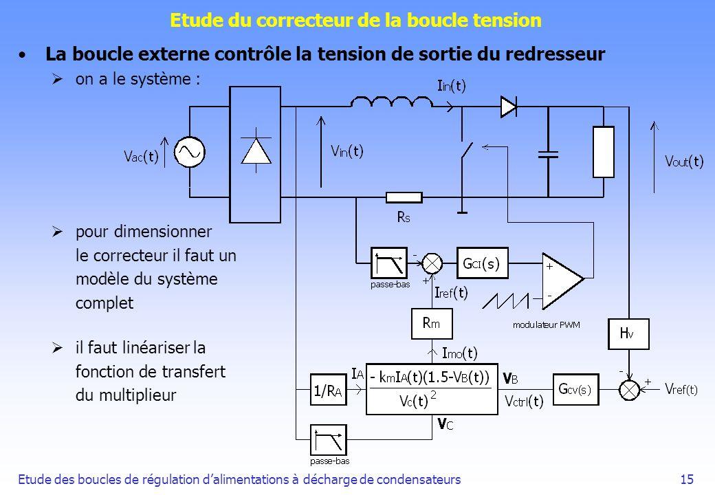 Etude des boucles de régulation dalimentations à décharge de condensateurs15 Etude du correcteur de la boucle tension La boucle externe contrôle la te