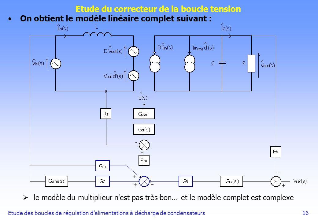 Etude des boucles de régulation dalimentations à décharge de condensateurs16 Etude du correcteur de la boucle tension On obtient le modèle linéaire co
