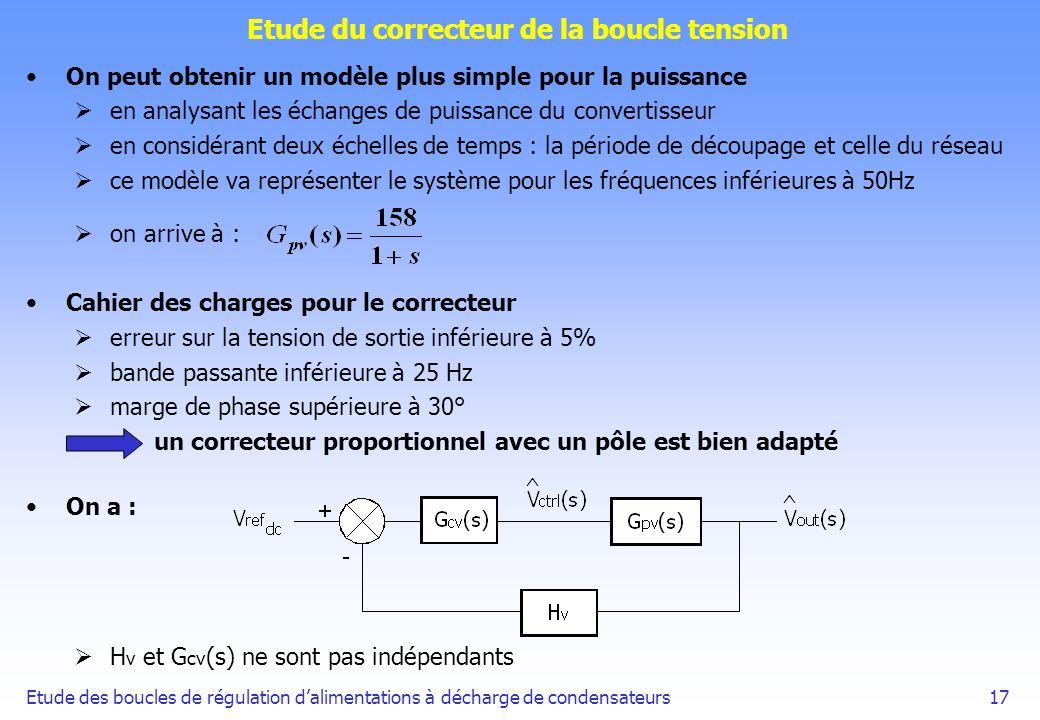 Etude des boucles de régulation dalimentations à décharge de condensateurs17 Etude du correcteur de la boucle tension On peut obtenir un modèle plus s