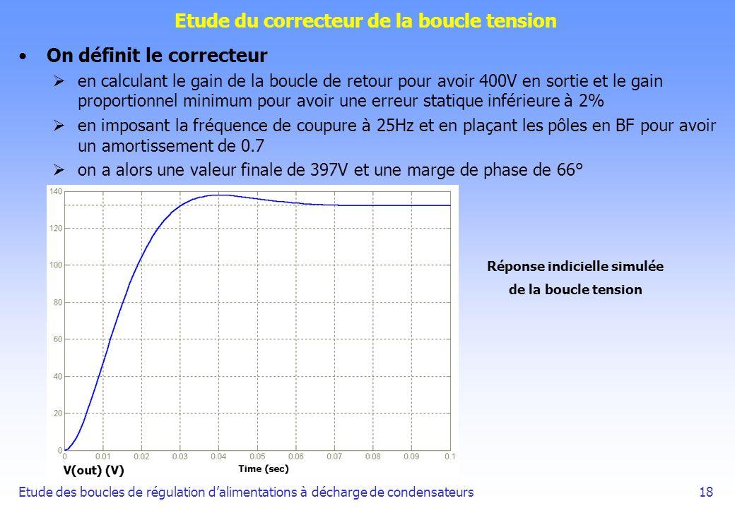 Etude des boucles de régulation dalimentations à décharge de condensateurs18 Etude du correcteur de la boucle tension On définit le correcteur en calc