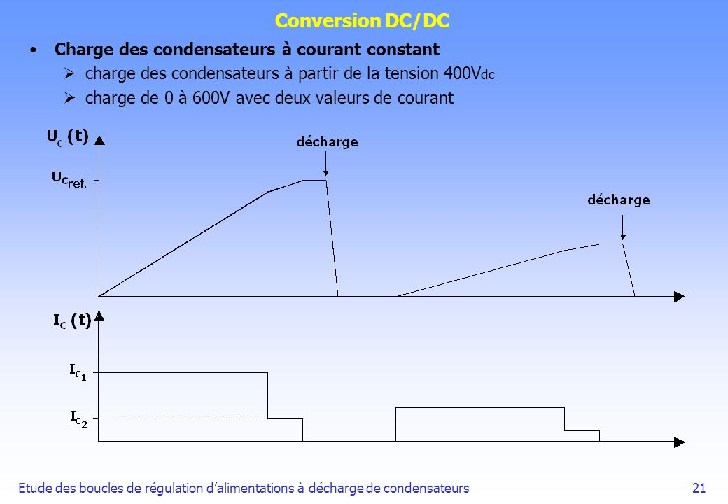 Etude des boucles de régulation dalimentations à décharge de condensateurs21 Conversion DC/DC Charge des condensateurs à courant constant charge des c