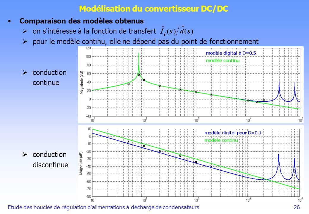 Etude des boucles de régulation dalimentations à décharge de condensateurs26 Modélisation du convertisseur DC/DC Comparaison des modèles obtenus on s'