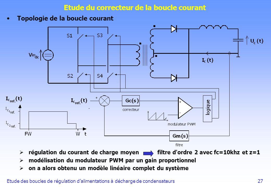 Etude des boucles de régulation dalimentations à décharge de condensateurs27 Etude du correcteur de la boucle courant Topologie de la boucle courant r