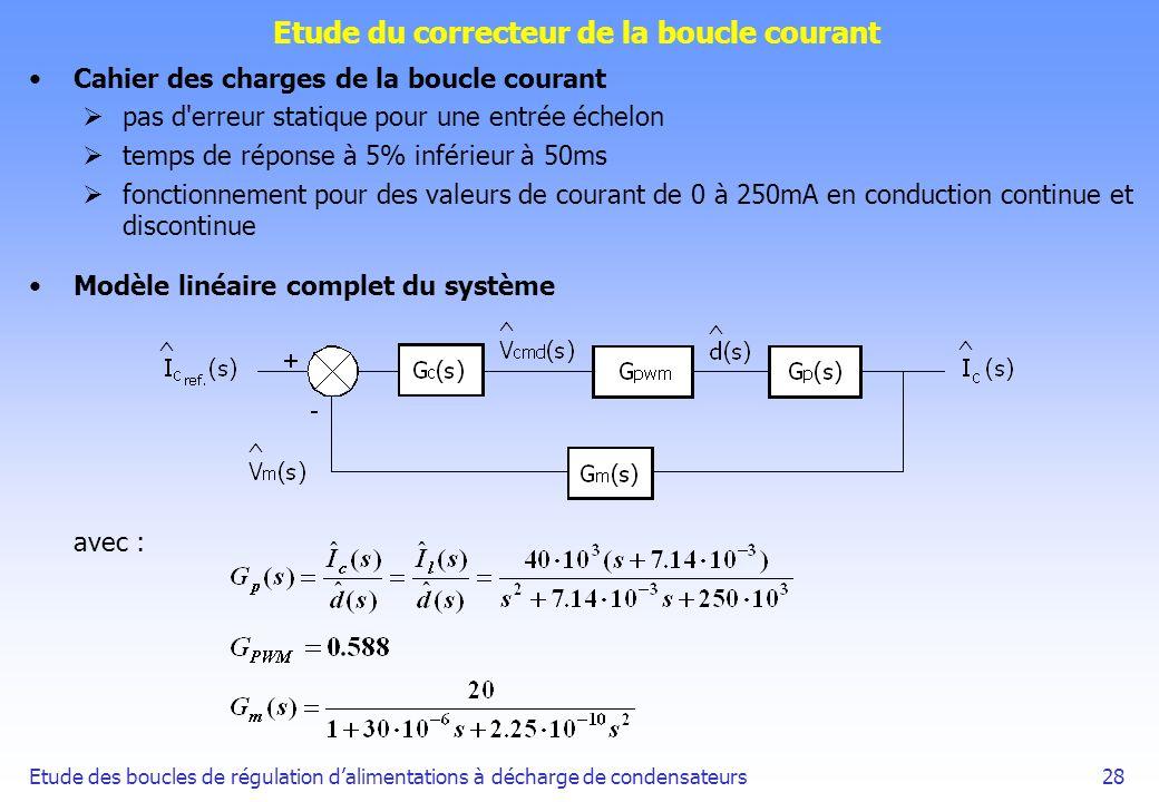 Etude des boucles de régulation dalimentations à décharge de condensateurs28 Etude du correcteur de la boucle courant Cahier des charges de la boucle