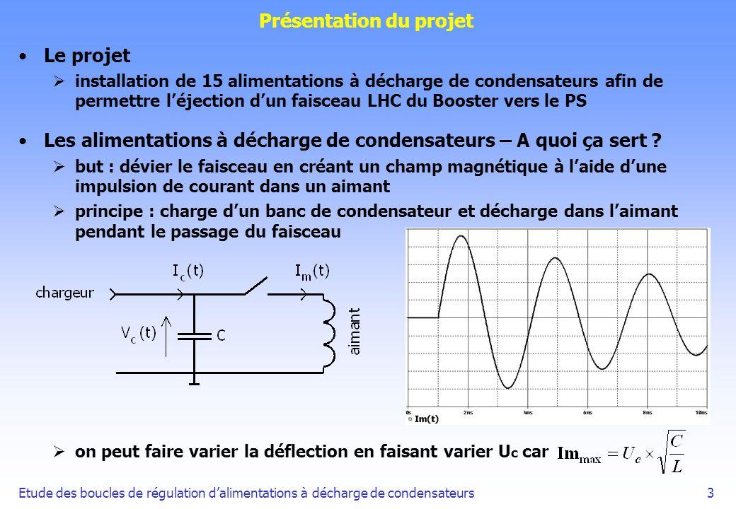 Etude des boucles de régulation dalimentations à décharge de condensateurs34 Etude de la boucle tension on construit un modèle complet du système avec Simulink et on dimensionne Ku à l aide de ce modèle on obtient : une erreur de 0.6% pour Uc=500V une erreur négligeable pour des tensions de charge de l ordre de la dizaine de volts Conclusion l étude de la boucle courant a permis de mettre en oeuvre deux méthodes de modélisation le correcteur par modèle interne n a pas donné de bons résultats les performances obtenues sont conformes au cahier des charges il serait intéressant de définir un correcteur pour la boucle courant avec une part plus importante d adaptation au système