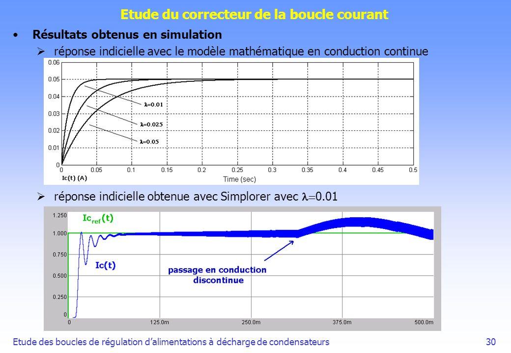 Etude des boucles de régulation dalimentations à décharge de condensateurs30 Etude du correcteur de la boucle courant Résultats obtenus en simulation