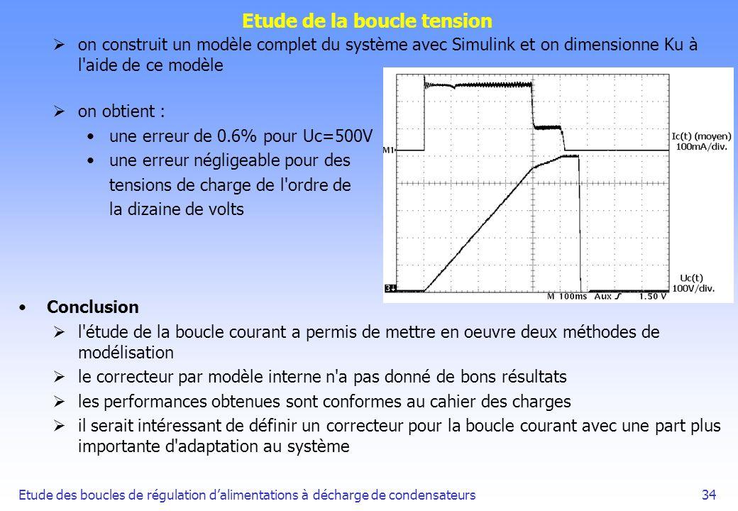 Etude des boucles de régulation dalimentations à décharge de condensateurs34 Etude de la boucle tension on construit un modèle complet du système avec