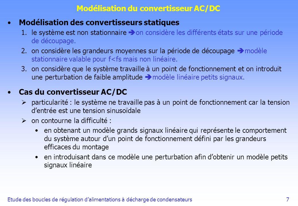 Etude des boucles de régulation dalimentations à décharge de condensateurs8 Modélisation du convertisseur AC/DC On obtient le modèle petits signaux suivant : On obtient sous forme de variables détat :