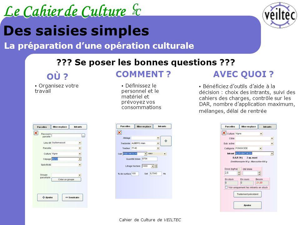 Cahier de Culture de VEILTEC Le Cahier de Culture CC CC dd Des saisies simples La préparation dune opération culturale ??? Se poser les bonnes questio