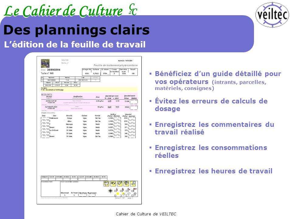 Cahier de Culture de VEILTEC Le Cahier de Culture CC CC dd Des plannings clairs Lédition de la feuille de travail Bénéficiez dun guide détaillé pour v