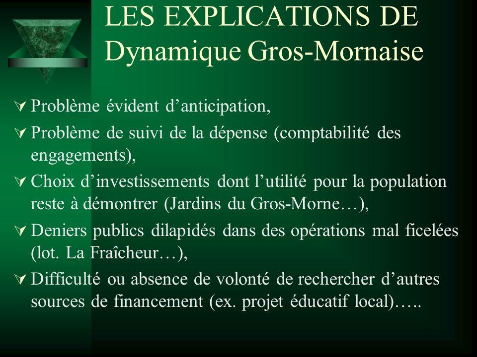 LES EXPLICATIONS DE Dynamique Gros-Mornaise Problème évident danticipation, Problème de suivi de la dépense (comptabilité des engagements), Choix dinv