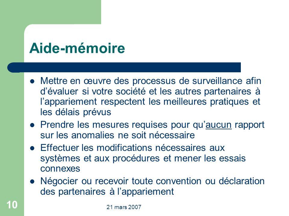 21 mars 2007 10 Aide-mémoire Mettre en œuvre des processus de surveillance afin dévaluer si votre société et les autres partenaires à lappariement res