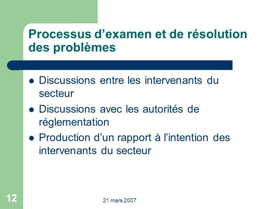 21 mars 2007 12 Processus dexamen et de résolution des problèmes Discussions entre les intervenants du secteur Discussions avec les autorités de réglementation Production dun rapport à lintention des intervenants du secteur