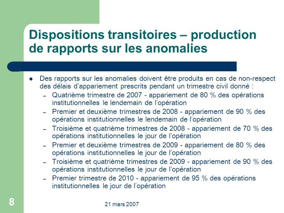 21 mars 2007 8 Dispositions transitoires – production de rapports sur les anomalies Des rapports sur les anomalies doivent être produits en cas de non