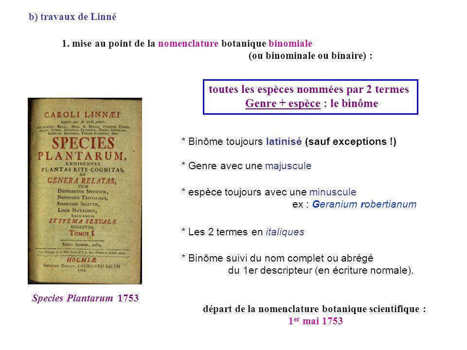 1. mise au point de la nomenclature botanique binomiale (ou binominale ou binaire) : * Binôme toujours latinisé (sauf exceptions !) Species Plantarum