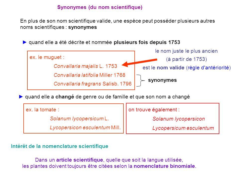Synonymes (du nom scientifique) quand elle a été décrite et nommée plusieurs fois depuis 1753 quand elle a changé de genre ou de famille et que son no
