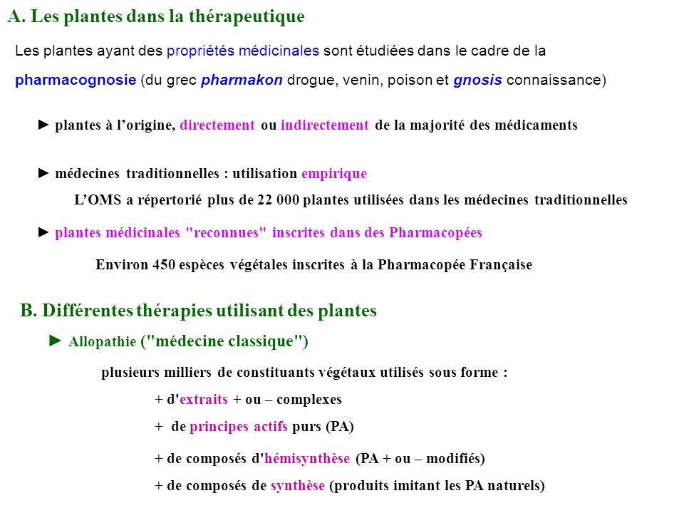 A. Les plantes dans la thérapeutique Les plantes ayant des propriétés médicinales sont étudiées dans le cadre de la pharmacognosie (du grec pharmakon