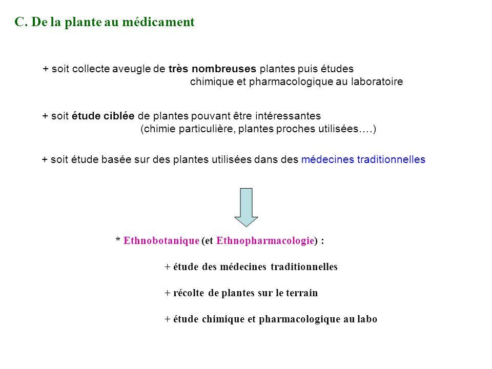 C. De la plante au médicament * Ethnobotanique (et Ethnopharmacologie) : + étude des médecines traditionnelles + récolte de plantes sur le terrain + é