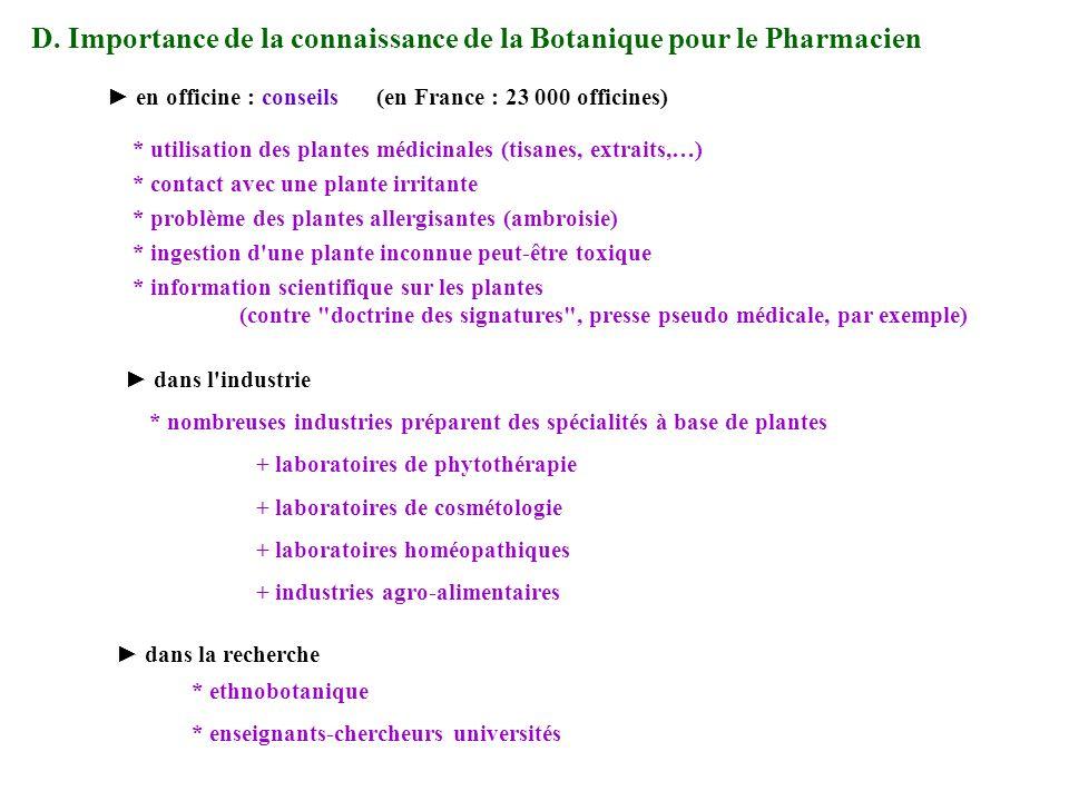 (en France : 23 000 officines) * information scientifique sur les plantes (contre