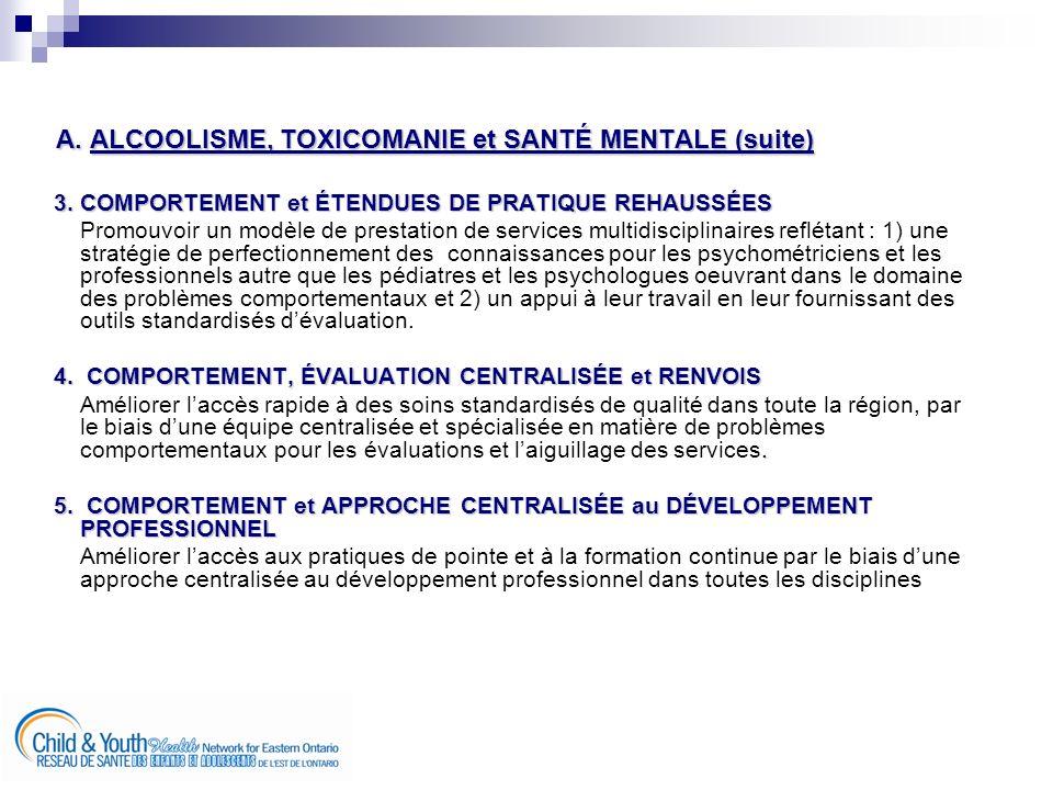 A. ALCOOLISME, TOXICOMANIE et SANTÉ MENTALE (suite) 3.