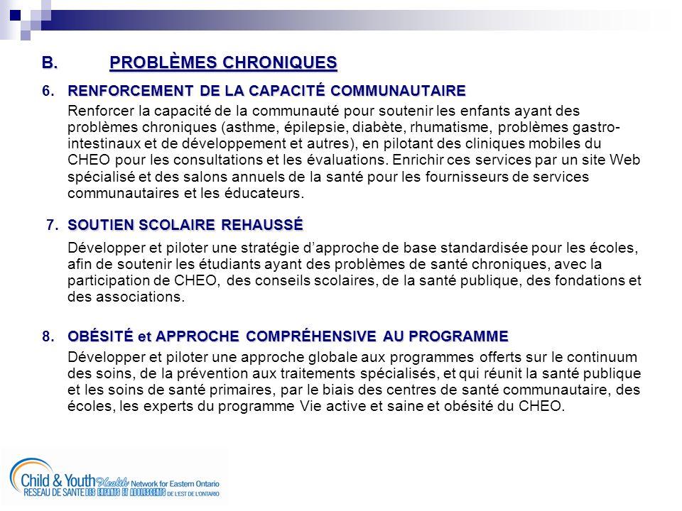 B.PROBLÈMES CHRONIQUES RENFORCEMENT DE LA CAPACITÉ COMMUNAUTAIRE 6.