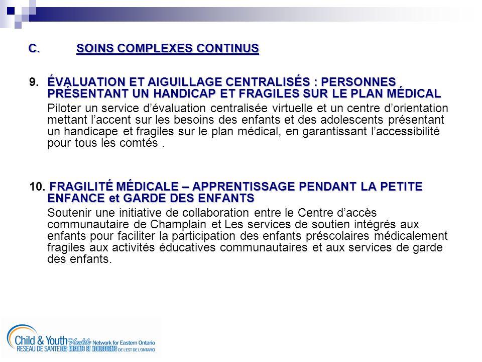 C.SOINS COMPLEXES CONTINUS ÉVALUATION ET AIGUILLAGE CENTRALISÉS : PERSONNES PRÉSENTANT UN HANDICAP ET FRAGILES SUR LE PLAN MÉDICAL 9.